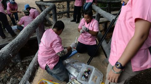 Veterinarians prepare anesthetic syringes used to sedate the tigers.