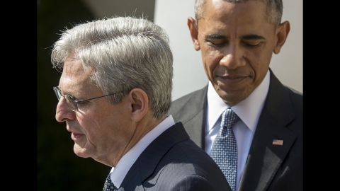 """<strong>Scalia's replacement: </strong>Obama joins his Supreme Court nominee, Merrick Garland, in the Rose Garden of the White House in March. But Republicans <a href=""""http://www.cnn.com/2016/05/10/politics/merrick-garland-supreme-court-senate-republicans/"""" target=""""_blank"""">have vowed to block</a> any replacement for Antonin Scalia until a new President takes office."""