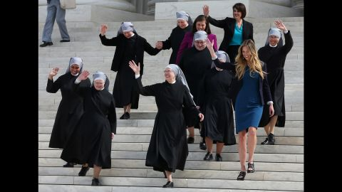 """<strong>Obamacare contraception mandate: </strong>Catholic nuns from the Little Sisters of the Poor walk down the steps of the U.S. Supreme Court in March. The group was challenging the government's new health-care regulations. Lawyers for the nuns and other religious nonprofits told the court that the so-called contraceptive mandate forces these groups to either violate their religious beliefs or pay ruinous fines. The justices, in a unanimous decision in May, <a href=""""http://www.cnn.com/2016/05/16/politics/supreme-court-obamacare-contraceptive-mandate/"""" target=""""_blank"""">sent the case back down to the lower courts</a> for opposing parties to work out a compromise."""