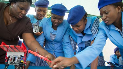 The girls are part of 20 state schools across Abuja the charity works with. Its founder hopes to equip children with skills in coding, and computer programming.