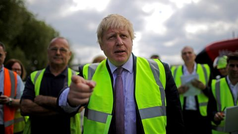 Boris Johnson tours a refinery during the Vote Leave campaign's Brexit Battle Bus tour on May 17, 20016 in Stafford, England.