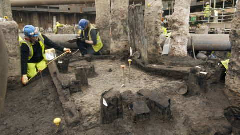 Excavating the site where the writing tablets were found.