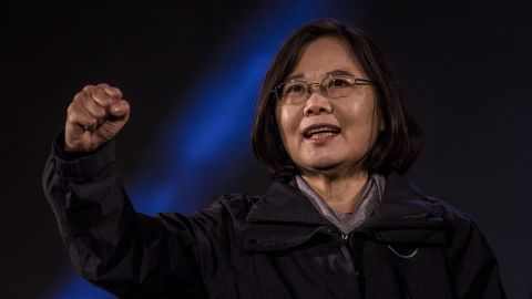 Taiwan Presdient Tsai Ing-wen waves to supporters during her campaign in 2016.