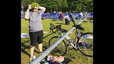 """""""At the transition area at the Tall Pines Sprint Triathlon [in May 2016]. As you can see from the lack of bikes around me, I'm definitely towards the back of the pack."""""""