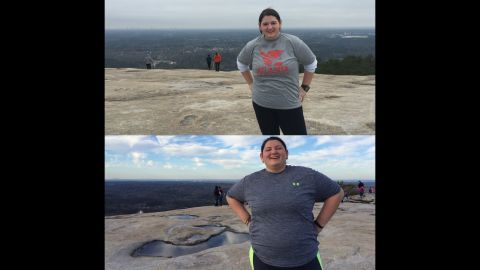 """""""Oh what a difference 80 pounds make. These pictures were taken at the same location, but many many pounds apart."""" The bottom image is from March 2015 and the top is from February 2016."""