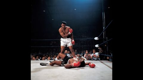 Ali stands over Liston during their rematch in Lewiston, Maine, on May 25, 1965.