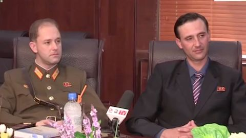 """The sons of an American defector to North Korea, one of whom is now a captain in the army, are featured in a propaganda video calling on the US """"to drop its hostile policy against North Korea"""""""