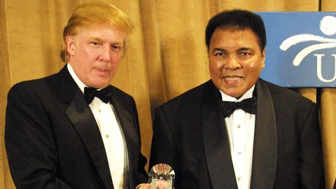 Muhammad Ali is honored March 14, 2001 and receives The UCP's Humanitarian Award from Donald Trump at the United Cerebral Palsey dinner at the New York Marriott Marquis Hotel in New York City.