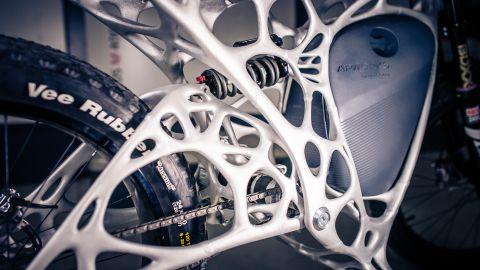 """The """"Light Rider"""" has a lightweight 3-D printed frame and a six kilowatt battery."""