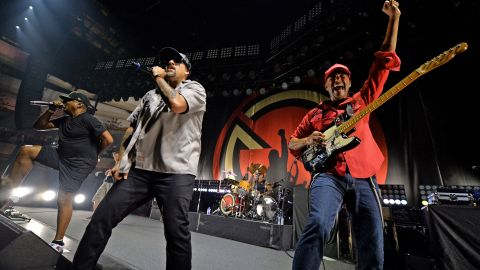 Chuck D, B-Real and Tom Morello of Prophets of Rage perform onstage at Hollywood Palladium on June 3, 2016 in Los Angeles, California.