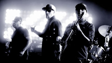 Chuck D, B-Real and Tom Morello perform on May 31, 2016 in West Hollywood, California.