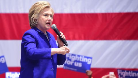 Hillary Clinton speaks to supporters on a last day of Caifornia campaigning on June 6, 2016 in Lynwood, California, where she spoke to supporters at Plaza Mexico.