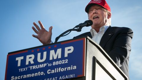 SACRAMENTO, CA - JUNE 01:  Republican Presidential candidate Donald Trump speaks at a campaign rally on June 1, 2016 in Sacramento, California. Trump is campaigning in California ahead of the states June 7th Republican primary. (Photo by Elijah Nouvelage/Getty Images)