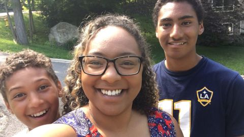 Amanda Rodriguez along with two of her sons, ages 11 and 14