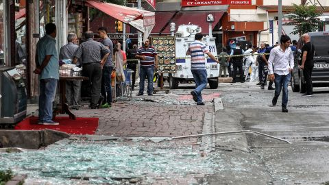 Officers secure the area near the scene of the attack. It took place in a busy neighborhood that includes the city's landmark Beyazit Square, the main Istanbul University campus and the Vezneciler metro station.