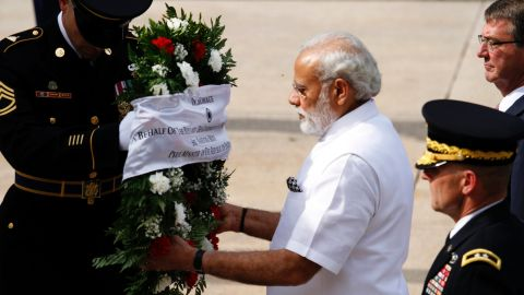 Modi lays a wreath at the Tomb of the Unknown Soldier in Arlington.