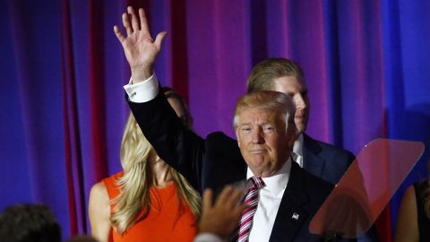Donald Trump waves after delivering remarks following primaries in California, Montana, New Jersey, New Mexico, North Dakota and South Dakota at Trump National Golf Club Westchester in Briarcliff Manor,  New York, June 07, 2016.