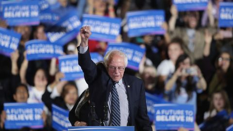 SANTA MONICA, CA - JUNE 07:  Democratic presidential candidate Senator Bernie Sanders (D-VT) greets supporters at an election-night rally on June 7, 2016 in Santa Monica, ia. Hillary Clinton held an early lead in today's California primary.  (Photo by Scott Olson/Getty Images)