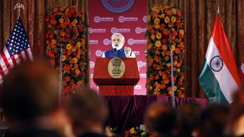 Modi speaks during a leadership summit for the U.S.-India Business Council on Tuesday, June 7.