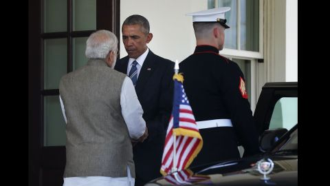 Obama bids farewell to Modi after a working lunch at the White House on June 7.