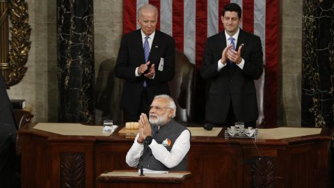 """Indian Prime Minister Narendra Modi addresses a joint meeting of the U.S. Congress on Wednesday, June 8. """"The traits of freedom and liberty form a strong bond between our two democracies,"""" said Modi, who is in the Washington area for a three-day visit."""