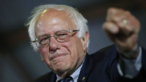 Sanders speaks at a rally in Santa Monica, California, in June 2016. He pledged to stay in the Democratic race even though Clinton secured the delegates she needed to become the presumptive nominee.