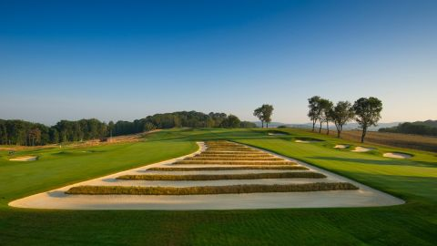 The infamous Church Pews bunkers come into play on the third and fourth holes at Oakmont.