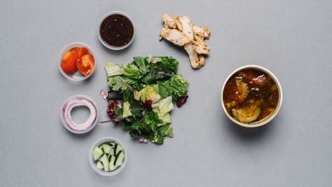 For those counting their calories, the seasonal salad with chicken (half) and low-fat vegetarian garden vegetable soup with pesto (1 cup) goes a long way toward keeping you full on fewer calories.