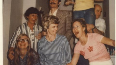 """Peterson, right, at a """"spontaneous"""" U.S. Embassy party in Moscow in 1977."""