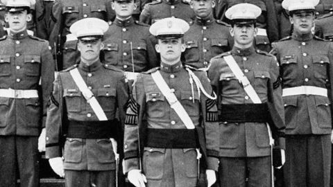 Donald Trump, center, from his days at the New York Military Academy.