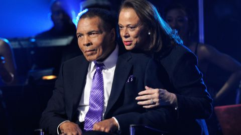 """Boxing legend Muhammad Ali (L) and wife Lonnie Ali appear onstage during the Keep Memory Alive foundation's """"Power of Love Gala"""" celebrating Muhammad Ali's 70th birthday at the MGM Grand Garden Arena February 18, 2012 in Las Vegas, Nevada. The event benefits the Cleveland Clinic Lou Ruvo Center for Brain Health and the Muhammad Ali Center."""