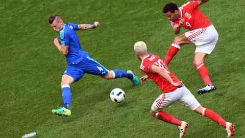 Wales forward Hal Robson-Kanu shoots to score.