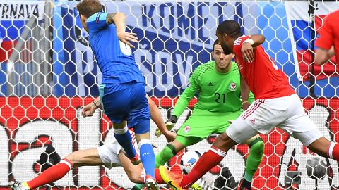 Slovakia's midfielder Ondrej Duda shoots and scores his team's first, and only, goal. Earlier this month, Slovakia defeated world champion Germany 3-1 while it also overcame Spain during the qualifying campaign.