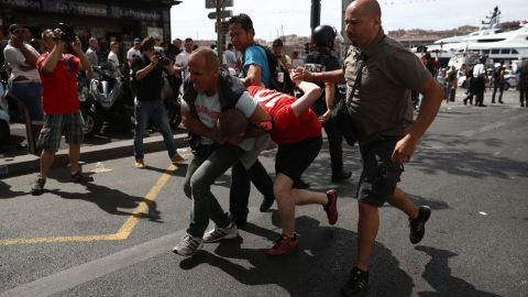 MARSEILLE, FRANCE - JUNE 11: England fans clash ahead of the game against Russia later today on June 11, 2016 in Marseille, France.  Football fans from around Europe have descended on France for the UEFA Euro 2016 football tournament.  (Photo by Carl Court/Getty Images)