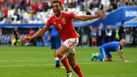 Robson-Kanu celebrates after firing home a late winner for Wales.