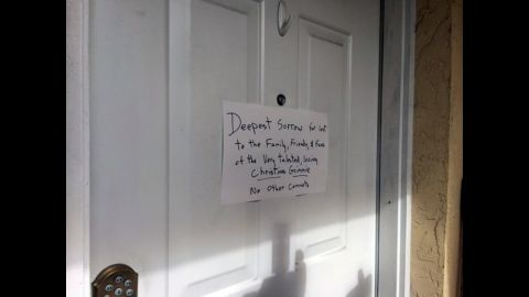 A handwritten note is posted on Kevin James Loibl's family home in St. Petersburg, Florida.