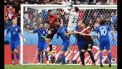 Croatian goalkeeper Danijel Subasic makes a save.