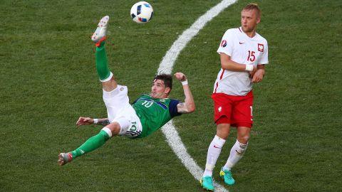 Northern Ireland's Kyle Lafferty attempts an overhead kick.