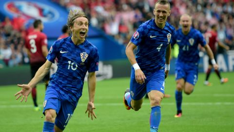 Luka Modric fired Croatia ahead four minutes before the interval.