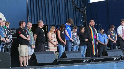 The Rev. Jeffrey Montoya leads a prayer in Greenfield, Wisconsin, on June 12.