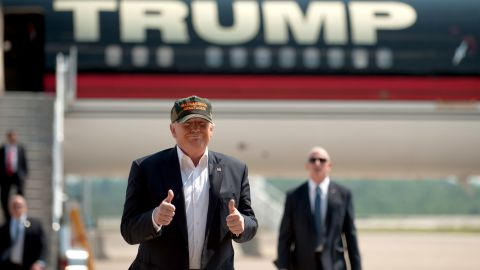 Republican candidate for President Donald Trump arrives in his plane to speak to supporters at a rally at Atlantic Aviation on June 11, 2016 in Moon Township, Pennsylvania.