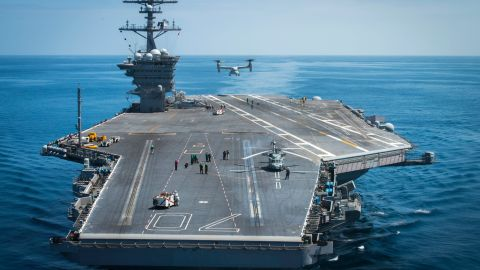 A MV-22B Osprey, from Marine Operational Test and Evaluation Squadron 1, lifts off from the flight deck of the aircraft carrier USS Carl Vinson (CVN 70) on June 12, 2016. Click through the gallery to see other US aircraft carriers.