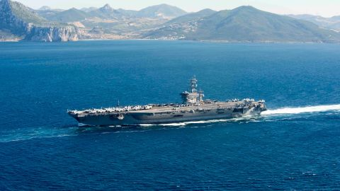 The aircraft carrier USS Dwight D. Eisenhower (CVN 69) (Ike) transits through the Strait of Gibraltar into the Mediterranean Sea on June 13, 2016. Ike, the flagship of the Eisenhower Carrier Strike Group, is conducting naval operations in the U.S. 6th Fleet area of operations. It could be used to support operations against ISIS in the Mideast.