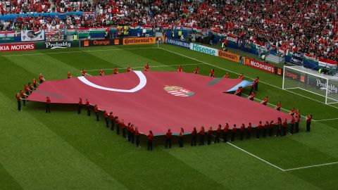 A large Hungary shirt is held as part of the pre-match ceremony.
