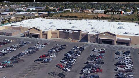 Zooms to Walmart at Canyon & Georgia in Amarillo, Texas