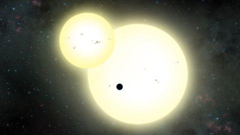 Artist's impression of the simultaneous stellar eclipse of Kepler-1647b.