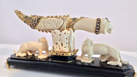 The ornamental dagger that allegedly belonged to Gadhafi is shown by police in Istanbul on June 13.