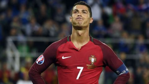 """Cristiano Ronaldo reacts during Portugal's 1-1 draw against Iceland. He labeled his opponents as having """"small mentalities"""" after the tiny islanders held on for a draw in its first match at a major international tournament."""