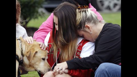 Fifteen-year-old Shayla Kline, left, pets Rex the therapy dog while getting a hug from her mother after a shooting in October 2014 at a high school in Marysville, Washington. Four students were killed, and one more was wounded. <br /><br />Why are dogs so good at comfort? Actually, not all are. A good therapy dog needs, above all, to have a great temperament. That means they should be calm at all times, even in the face of a hug that's too tight, loud noises and an occasional poke or two. They also need to love strangers as well as their own humans. And they need a well-trained human to be with them as part of the therapy team.