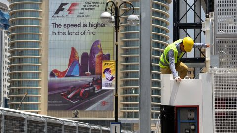 It's race week and the final touches are made to the Baku city center circuit